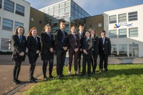 Darton students outside entrance